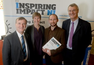 L-R: Will Haire, Permanent Secretary, DSD; Julie Harrison, Building Change Trust; Aongus O'Keeffe, Programme Leader, Inspiring Impact NI and David Carrington, Chair, Inspiring Impact UK
