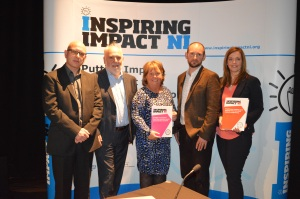 Nigel McKinney, Building Change Trust; Bill Osborne, Building Change Trust; Sharon Polson, DSD; Aongus O'Keeffe, Inspiring Impact NI and Joanne Morgan, CDHN at the Learning Exchange event.