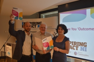 Aongus O'Keeffe, Inspiring Impact NI Programme Leader, Edgar Jardine and Brenda Kent, CENI at the launch the Embracing Change report.